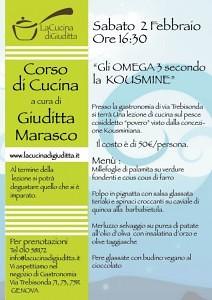 """Gli OMEGA 3 secondo la  KOUSMINE"" Sabato 2 Febbraio  ore 16.30"